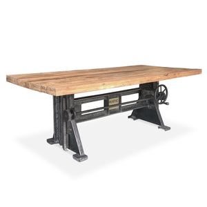 Industrial Dining Table - Adjustable Height Crank - Cast Iron Base Natural Distress Top Dining Table Rustic Deco