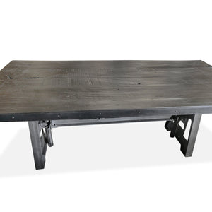 Industrial Dining Table - Cast Iron Base - Adjustable Height Crank - Distress Dark Dining Table Rustic Deco