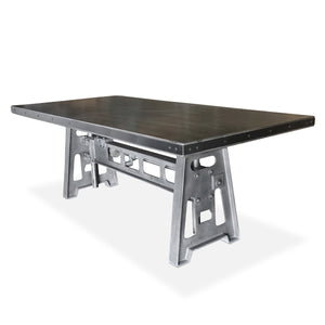 Industrial Dining Table - Cast Iron Base - Adjustable Height Crank - Grey Dining Table Rustic Deco