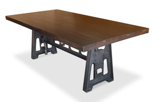 Industrial Dining Table - Cast Iron Base - Adjustable Height Crank - Dark Top - Rustic Deco Incorporated