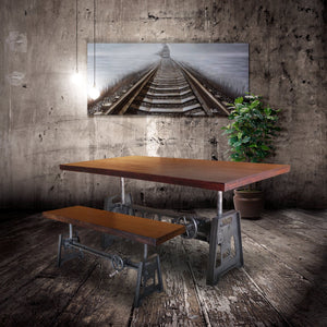 Industrial Dining Table - Cast Iron Base - Adjustable Height Crank - Provincial-Rustic Deco Incorporated