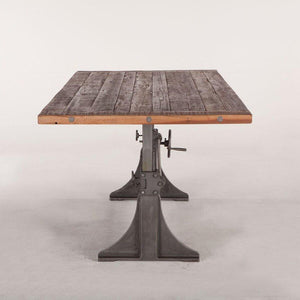 "Industrial Dining Table - Adjustable Crank - Reclaimed Solid Wood 84"" - Rustic Deco Incorporated"