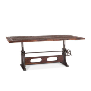 "Industrial Dining Table or Bar Adjustable Crank - Rustic Reclaimed Solid Wood 84"" Dining Table HT&D"