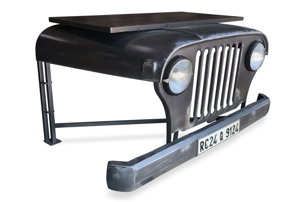 Industrial Repurposed Jeep Willys Office Desk - Working Headlights - Grey-Rustic Deco Incorporated
