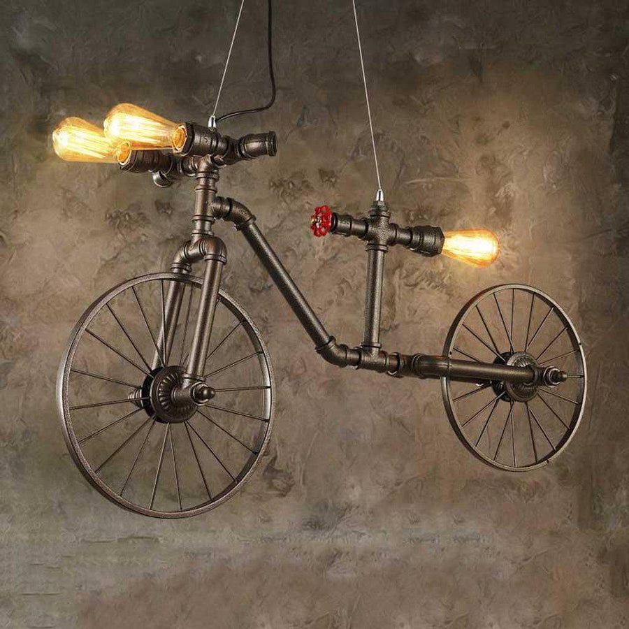 "Industrial Steampunk Pipe Hanging Bicycle Pendant Light 38"" - Rustic Deco Incorporated"