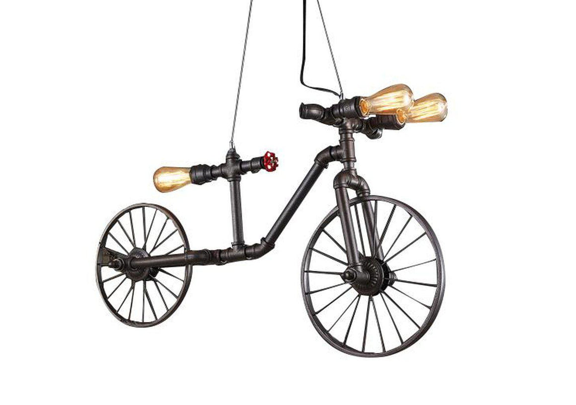 Industrial Steampunk Pipe Bicycle Pendant Light - Rustic Deco Incorporated
