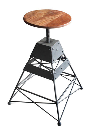 Industrial Adjustable Bar Stool - Metal Truss Base - Round Wooden Seat - Rustic Deco Incorporated