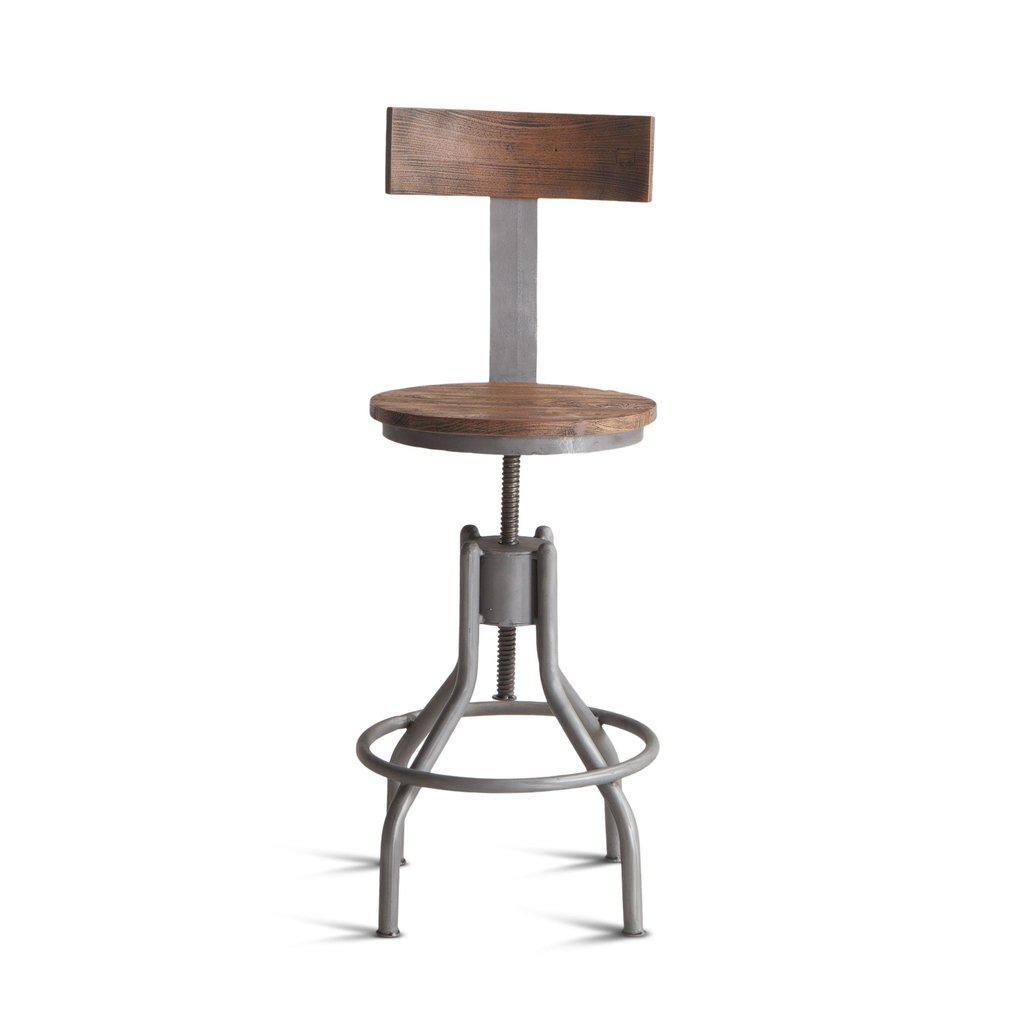 "Industrial Loft Adjustable Bar Stool - Weathered Gray - 48""  Set of 2 - Rustic Deco Incorporated"