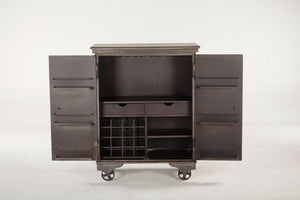 "Industrial Metal Bar Cabinet 38"" Server - Iron Casters - Solid Hardwood Top Bar HT&D"