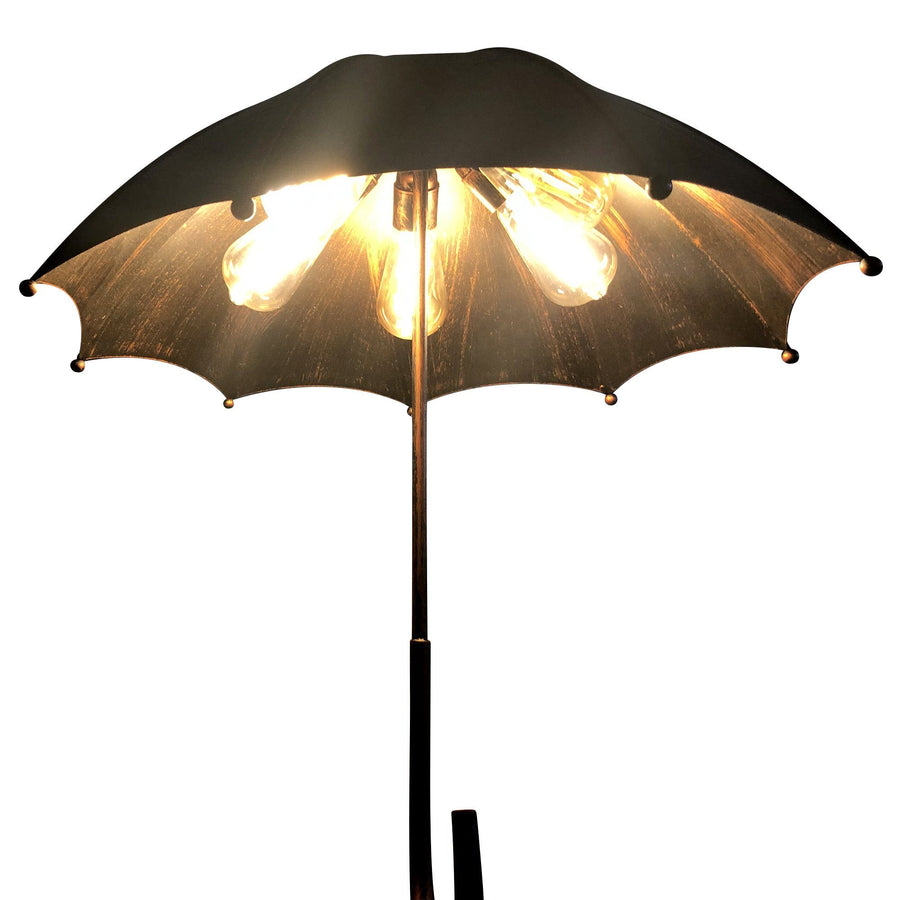 Unique Metal Umbrella Pendant Light - Brushed Black Copper Finish - Rustic Deco Incorporated