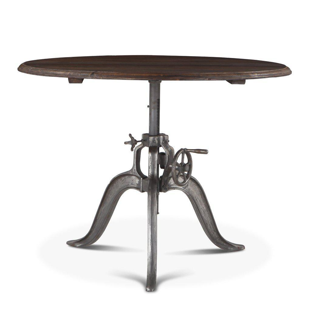 Round Industrial Dining Table Cast Iron Adjustable Crank Solid Wood