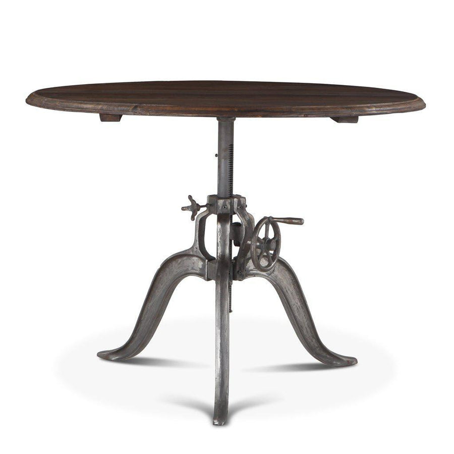 "Round Industrial Dining Table - Cast Iron Adjustable Crank Solid Wood Top 46"" - Rustic Deco Incorporated"