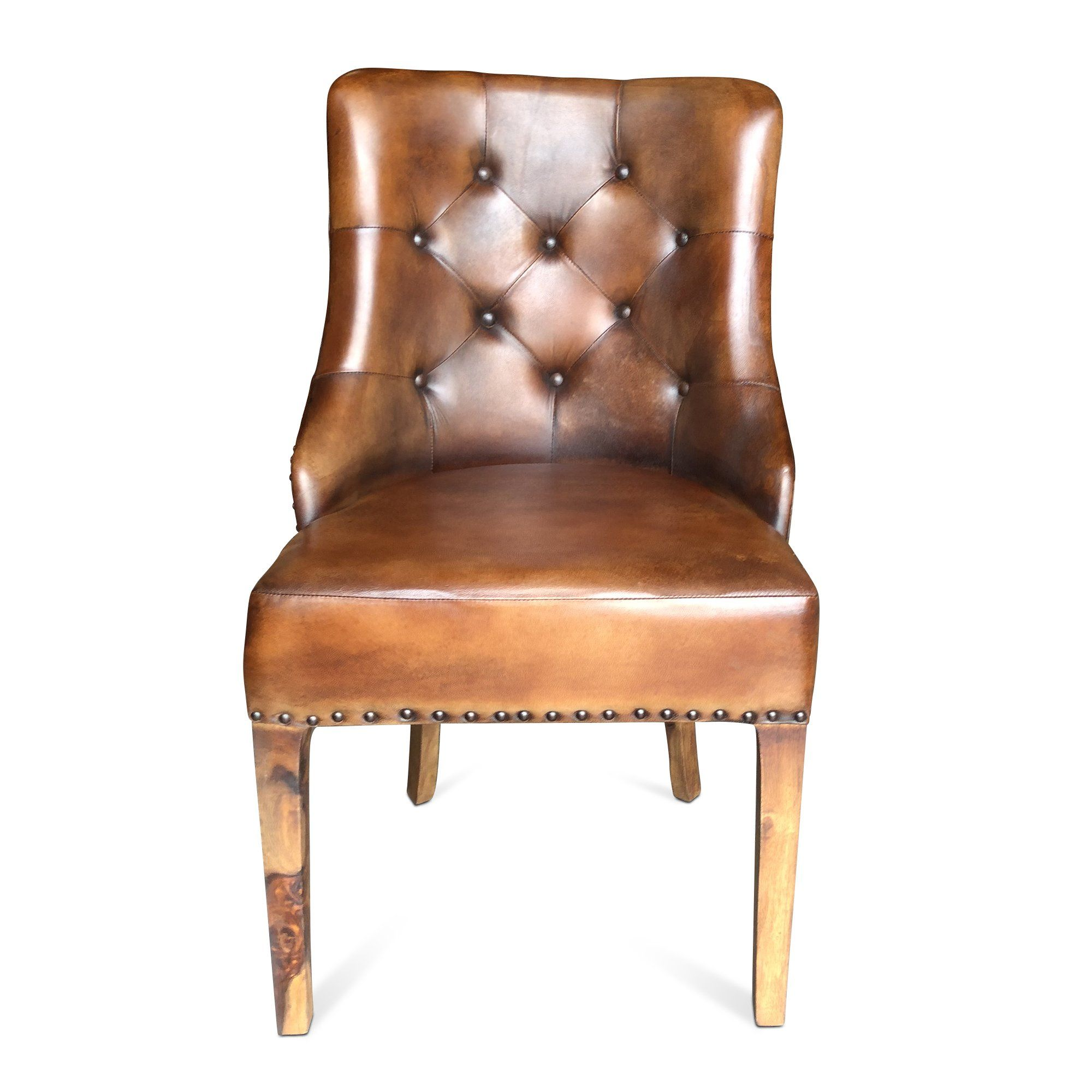 Industrial Rustic Brown Leather Tufted Arm Chair - Dining ...