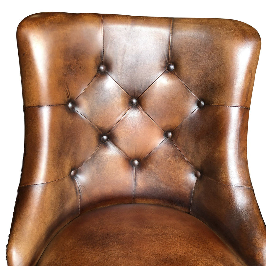 Brown Leather Dining Chair - Tufted Distressed Accent Seating - Pair - Rustic Deco Incorporated