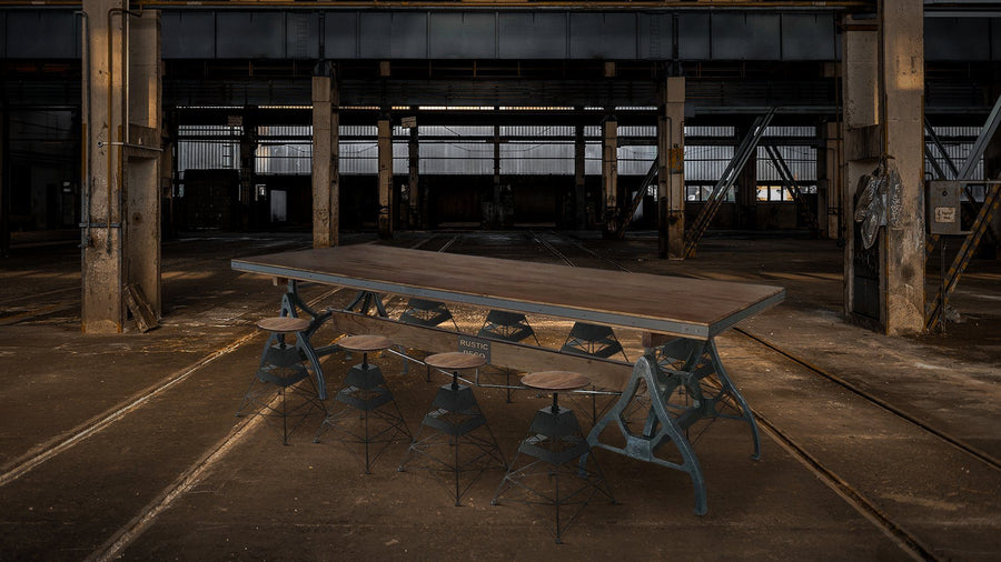 Industrial Sawhorse Conference Table - Iron Base - Wood Beam - Steampunk Dark Dining Table Rustic Deco