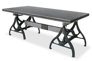 Industrial Sawhorse Dining Table - Cast Iron Base - Wood Beam – Grey - Rustic Deco Incorporated