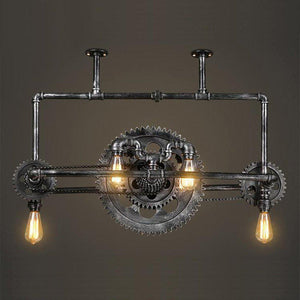 Industrial Steampunk Ceiling Lamp - Sprocket Belly - Gears Lighting Rustic Deco