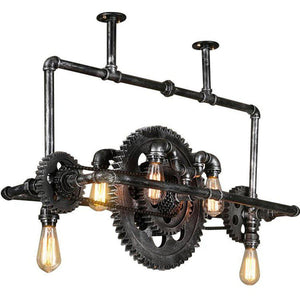 Industrial Steampunk Ceiling Lamp - Sprocket Belly - Rustic Deco Incorporated