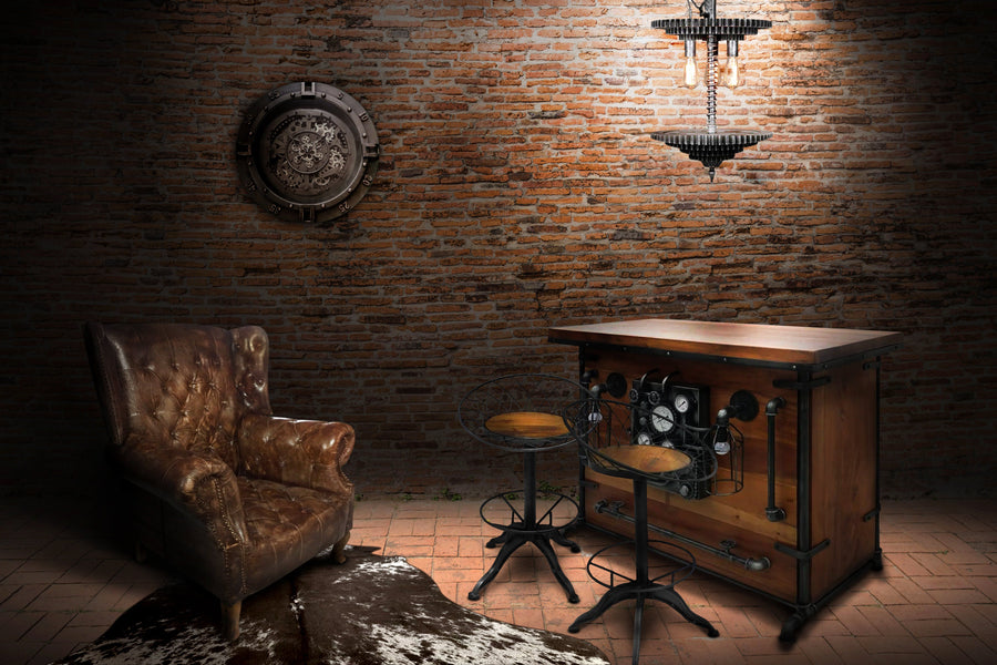 Industrial Steampunk Home Bar - Gears - Industrial Mancave Bar Rustic Deco