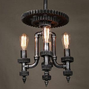 Industrial Steampunk Pendant Lamp - Cog Top - Gears Lighting Rustic Deco