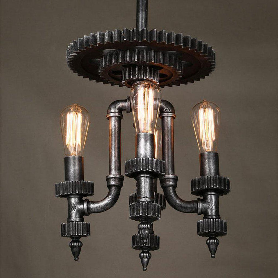 Industrial Steampunk Pendant Lamp - Cog Top - Rustic Deco Incorporated