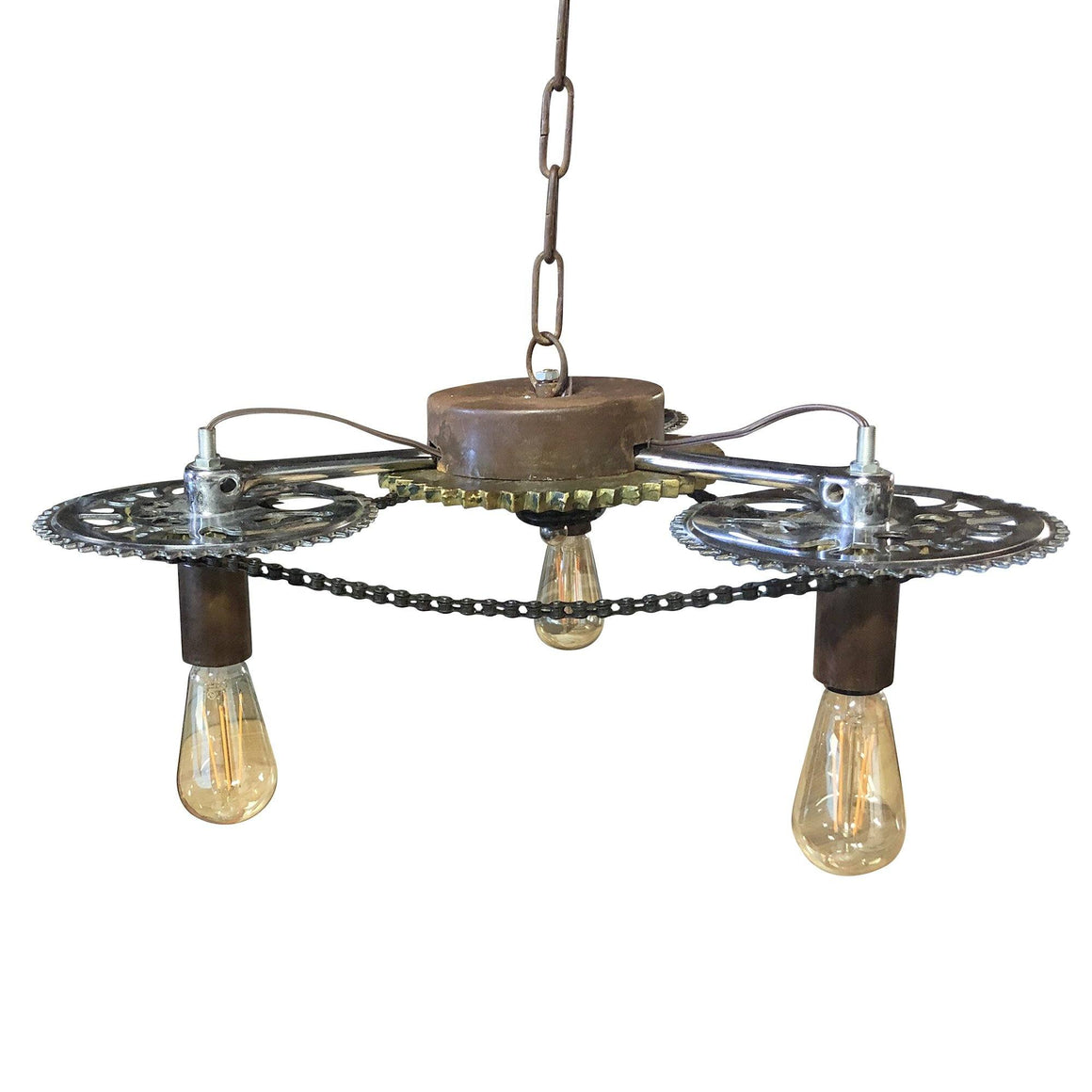 Industrial Steampunk Pendant Lamp - Side Winder Cogs - Ceiling Light-Rustic Deco Incorporated