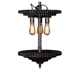 Industrial Steampunk Pendant Lamp - Stacked Sprockets-Rustic Deco Incorporated