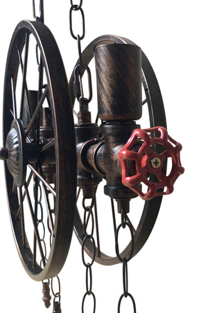 Industrial Pipe Valve Spoked Metal Wheel Pendant Light - Steampunk - Rustic Deco Incorporated