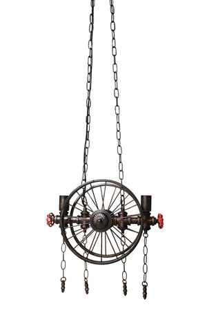 Industrial Pipe Valve Spoked Metal Wheel Pendant Light - Steampunk-Rustic Deco Incorporated