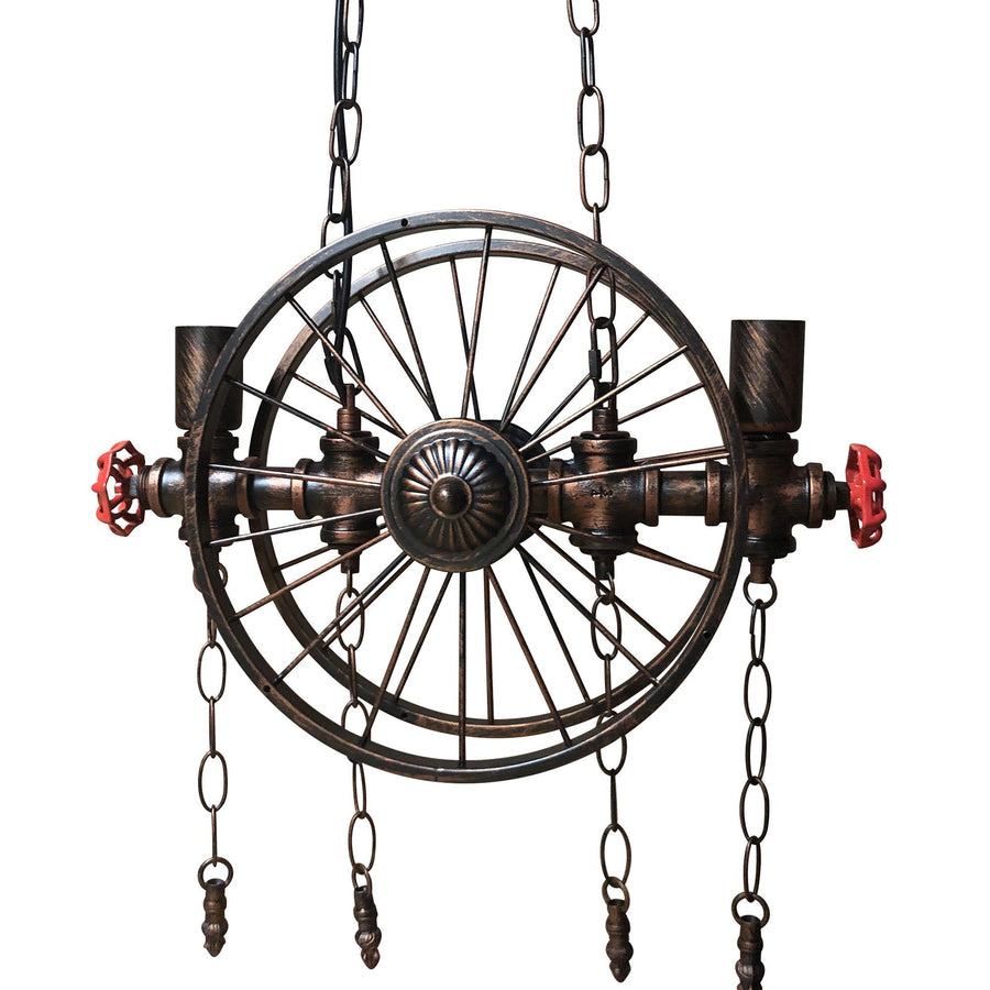 Industrial Steampunk Pipe Wheel Pendant Light - Rustic Deco Incorporated