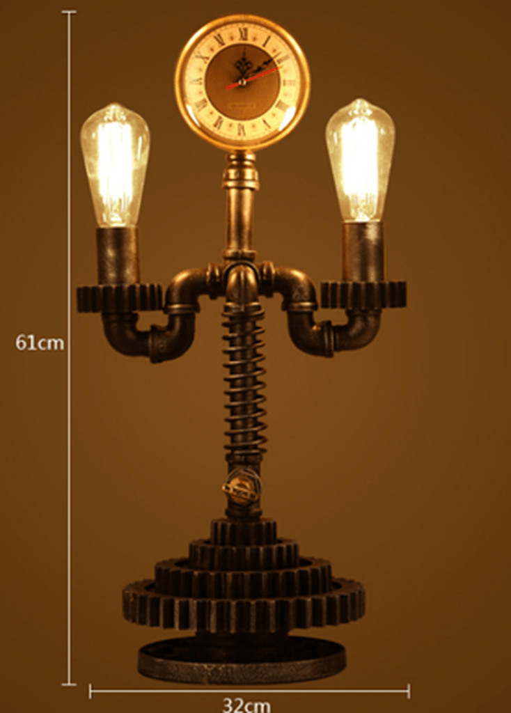 Industrial Steampunk Table Lamp and Clock - Rustic Deco Incorporated