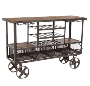 Industrial Teak Large Bar Cart Bar Trolley - Reclaimed Teak - Cast Iron - Rustic Deco Incorporated