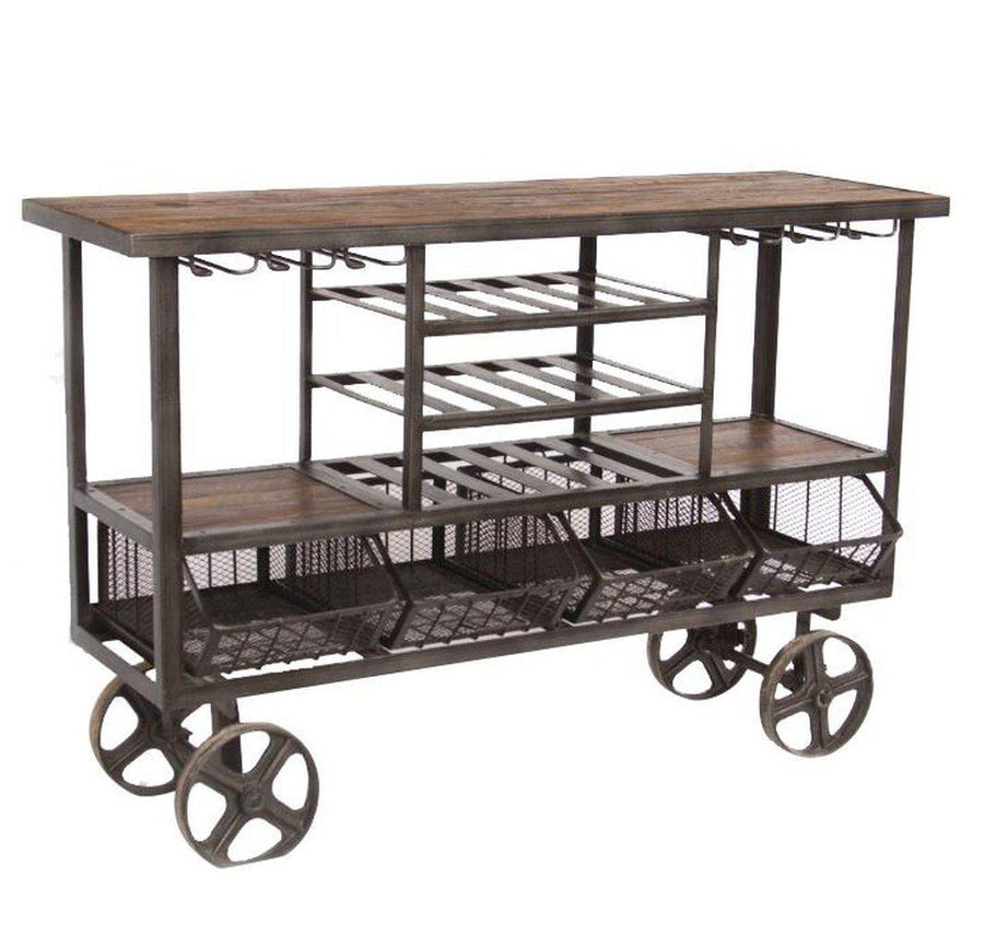 Industrial Teak Large Bar Cart Bar Trolley - Reclaimed Teak - Cast Iron Cart HT&D