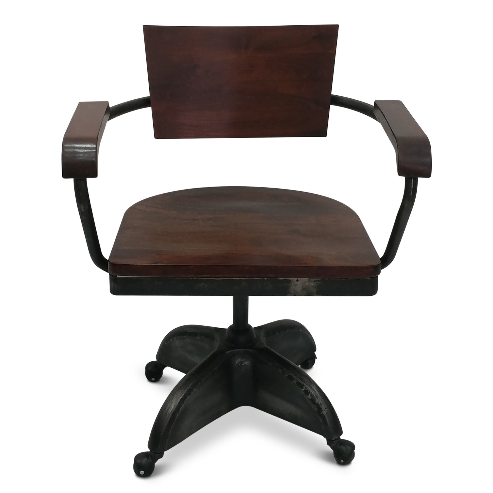 Industrial Vintage Style Solid Wood Iron Office Chair