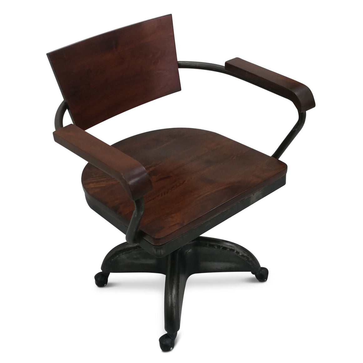 Industrial Vintage Style Solid Wood Iron Office Chair - Rustic Deco Incorporated