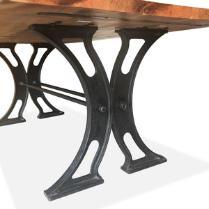 Industrial X Cast Iron Base with Acacia Top Dining Table Rustic Deco