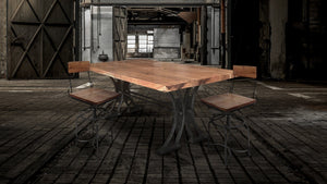 "Industrial X Dining Table - Cast Iron Base with Solid Hardwood Top - 79"" Dining Table Rustic Deco"