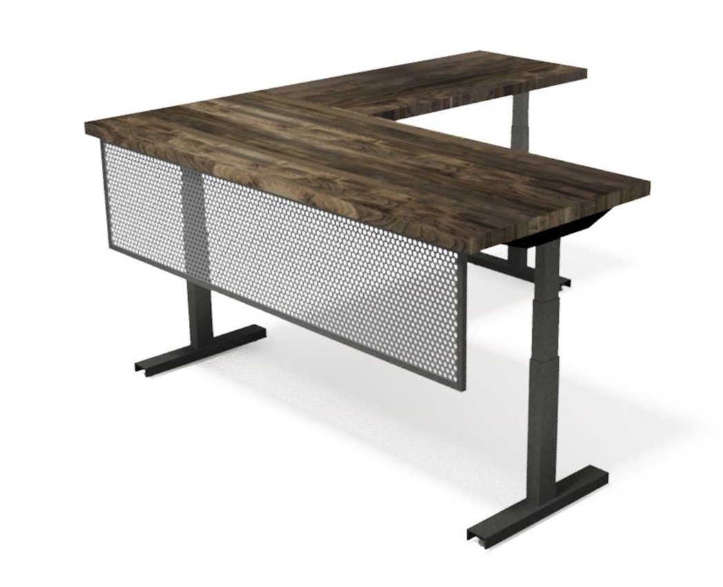 Iron Age Modern Industrial Desk - Steel Base - Adjustable Height - L Shape Desk IAO