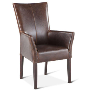 Jacob Brown Distressed Leather Host Hostess Dining Arm Chair-Set of 2 Chair HT&D