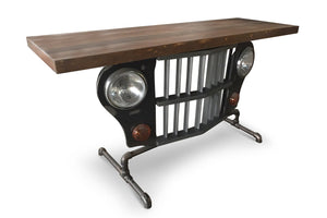 Jeep Grille Console Accent Table - Iron Pipe Base-Rustic Deco Incorporated