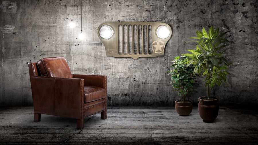 Jeep Wall Art Distressed WWII Army Green Wall Art Rustic Deco