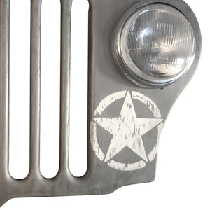 Jeep Wall Art Distressed Silver WWII Army Wall Art Rustic Deco