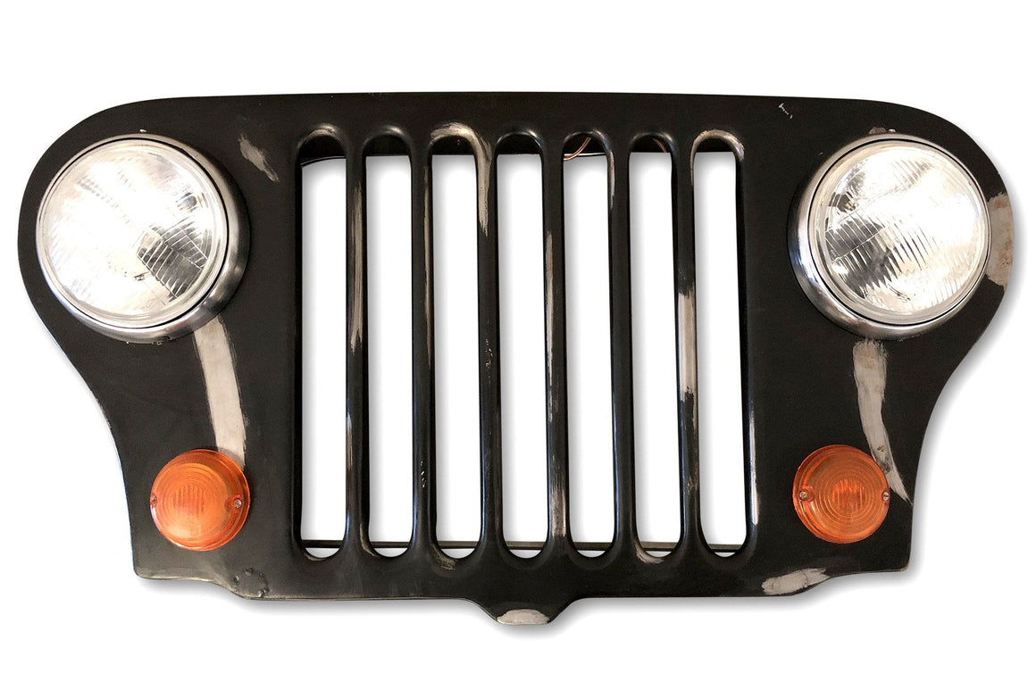 "Jeep Grille Lighted Wall Art Distressed Willys Headlights Lamp 40"" - Rustic Deco Incorporated"
