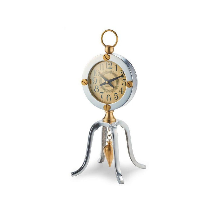 Juanita Plumb Bob Table Desk Clock - Art Nouveau Dial - Brass - Rustic Deco Incorporated