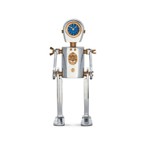 Karl the Robot Table Desk Clock - Aluminum Solid Brass - Atomic Age - Rustic Deco Incorporated