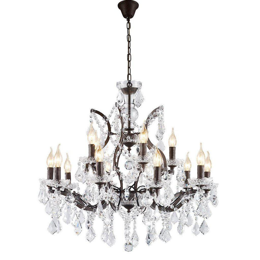 Large 12 Light Classic Crystal and Distressed Iron Chandelier Lighting Rustic Deco