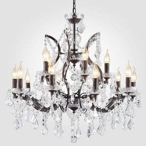 "Large 14-Light Classic Crystal and Distressed Iron Chandelier 26"" - Rustic Deco Incorporated"