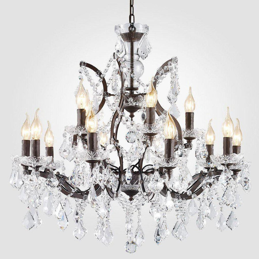 Large 14-Light Classic Crystal and Distressed Iron Chandelier - Rustic Deco Incorporated