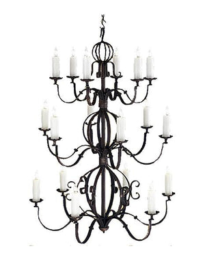 "Large 18 Light Hand Forged Iron Chandelier - 42"" Diameter 56"" High - Rustic Deco Incorporated"