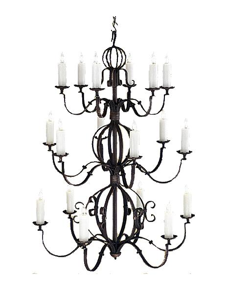 "Large 18 Light Hand Forged Iron Chandelier - 42"" Diameter 56"" High-Rustic Deco Incorporated"
